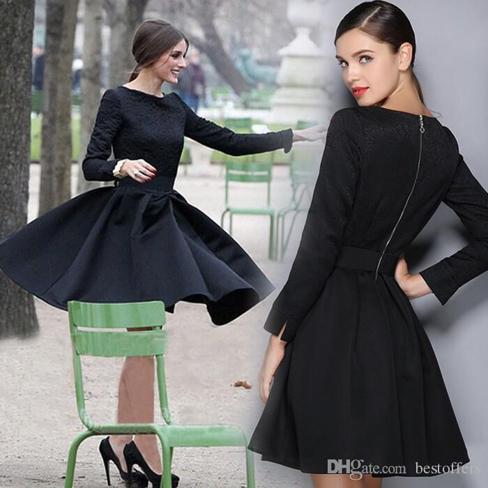 In Stock Little Black Dress With Jacquard Weave Crew Neck Long ...