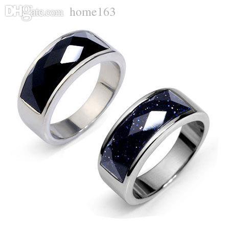 Black Onyx Stone Rings Men Women Titanium Stainless Steel Germ Ring