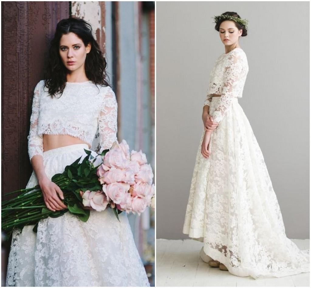 Discount boho wedding dresses long sleeves crew two pieces lace discount boho wedding dresses long sleeves crew two pieces lace bridal dress bohemian beach outdoor fitted fast shipping vintage bride gown designers winter ombrellifo Images