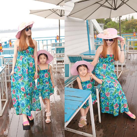 Mother And Daughter Dresses Country Style Summer Beach Long Dress