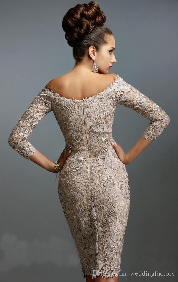 Splendida madre dello sposo Abiti da spalla a spalla 3/4 maniche lunghe lunghezza del ginocchio breve abiti da festa da sposa personalizzato