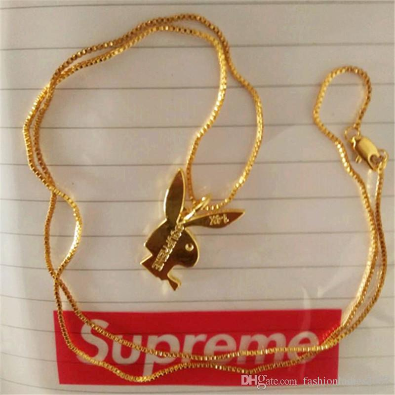 Superme Kaninchen Halskette Anhänger für Männer Frauen 14K Gold Halskette Hiphop MARKE Charme Franco Kette Hip Hop Goldener Schmuck Weihnachtsgeschenke