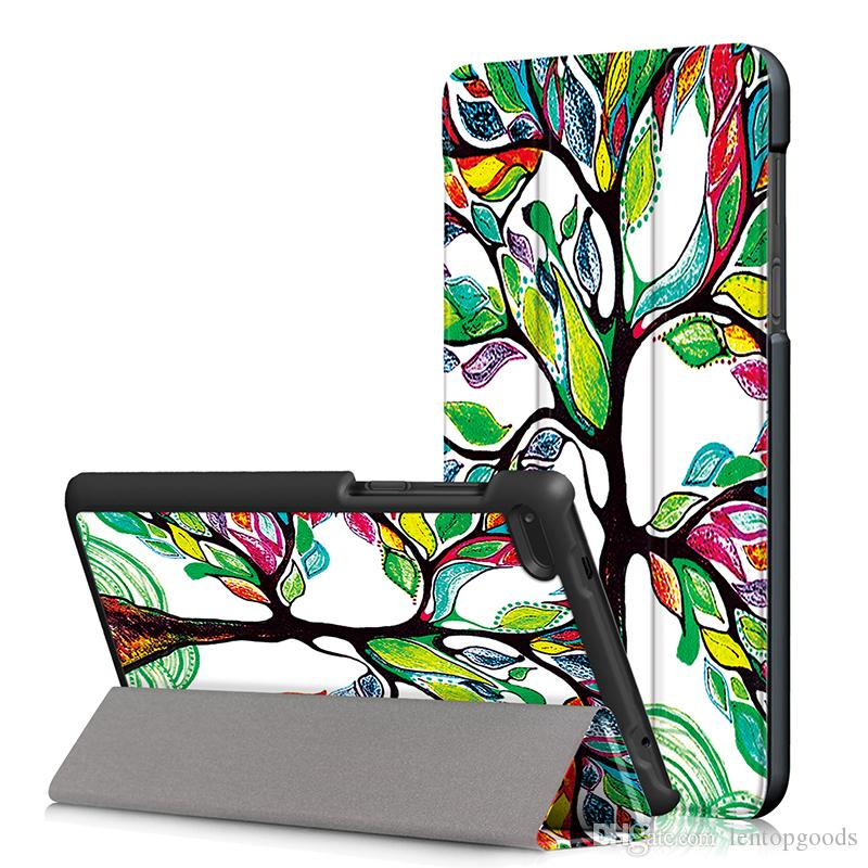 Painted Tri-fold Folio Stand Leather Cover For Lenovo tab 7 7.0 Essential TB-7304F/7304I/7304X Tablet Case+ Pen