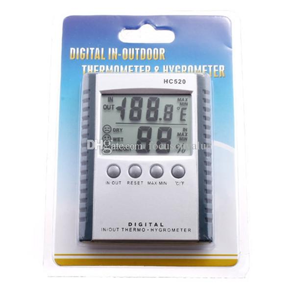 Digital Thermometer Hygrometer Temperature & Humidity Meter for indoor & outdoor LCD display HC520 in retail package