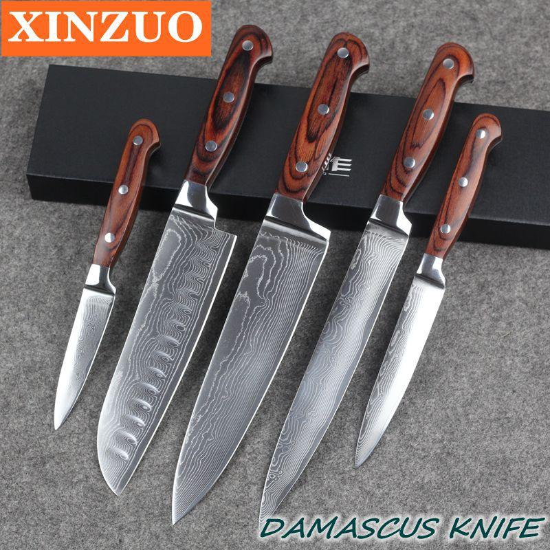 Xinzuo High Quality 73 Layers Chef Knife Damascus Stainless Steel Kitchen  Knife Sets With Color Wood Handle Manual Knife Sharpeners Mechanical Pencil  ...