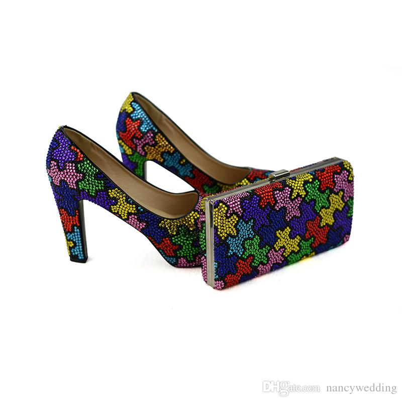 Handmade Multicolor Chunky Heel Bridal Wedding Shoes with Clutch Craftsman Women Party Prom Dress Shoes with Matching Bag