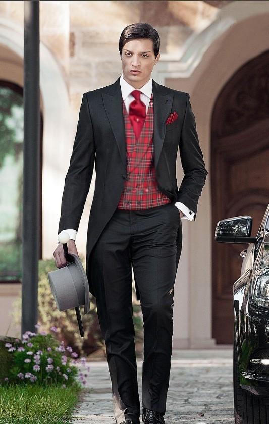 Özel Yapılmış Sabah Tarzı Damat Smokin Tepe Yaka erkek Suit Siyah Sağdıç / İyi Adam Düğün / Akşam Suit Ceket + Pantolon + Kravat + Yelek J922