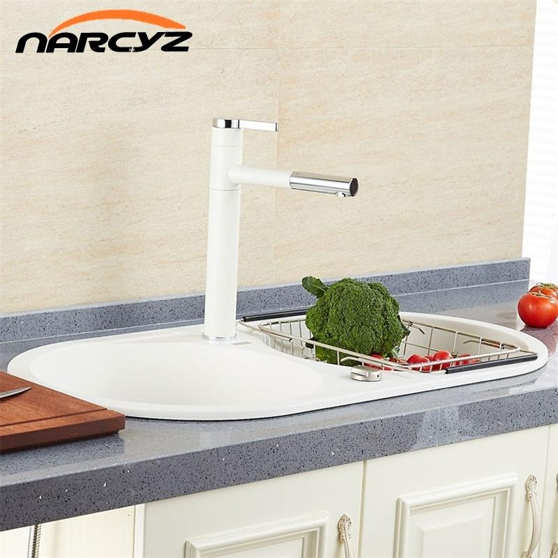 High Quality White Pull out Single-handle Basin Waterfall Brass ...