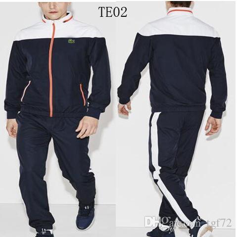Acheter Lacoste Hommes Sport Costume Blanc Pas Cher Hommes Plein Zip Survêtement  Hommes Sweat Et Pantalon Costume À Capuche Et Pantalon Ensemble Sweatsuit  ... ab474da0861