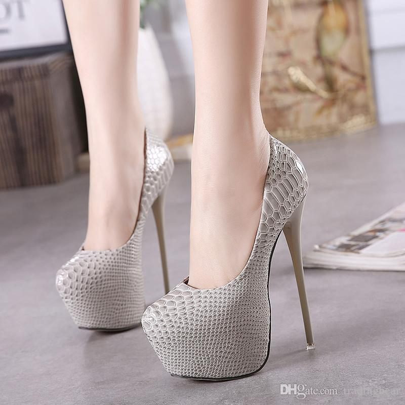 16cm Trendy Printed Ultra Heel Shoes Women High Heels Platform ...