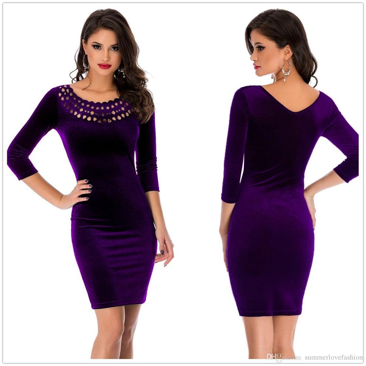 1a189e5f4b 2019 Black Purple Burgundy Navy Blue Round Neck Velvet Sheath Knee Length  Party Cocktail Dresses Hollow 3 4 Long Sleeves Short Evening Dress From ...