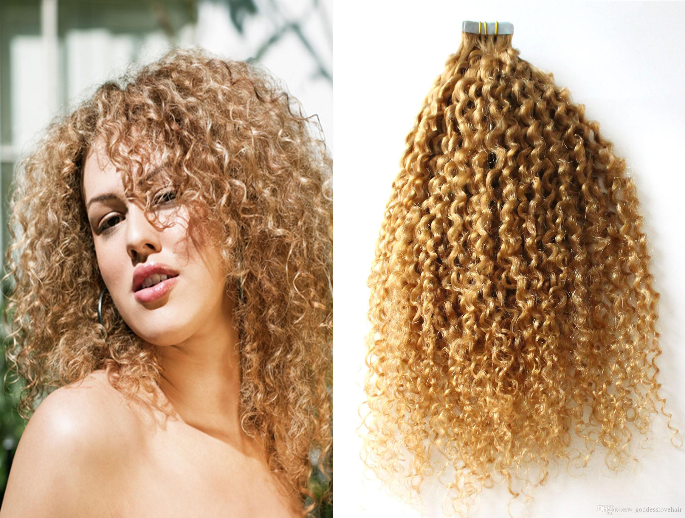 Hot Sales Afro Kinky Curly Virgin Pu Tape In Hair Extension Human