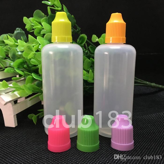 Snelle verzending 100ml lege plastic pe druppelaar flessen met kleurrijke kindveilige dop lange dunne druppelaar tips voor e vloeistof