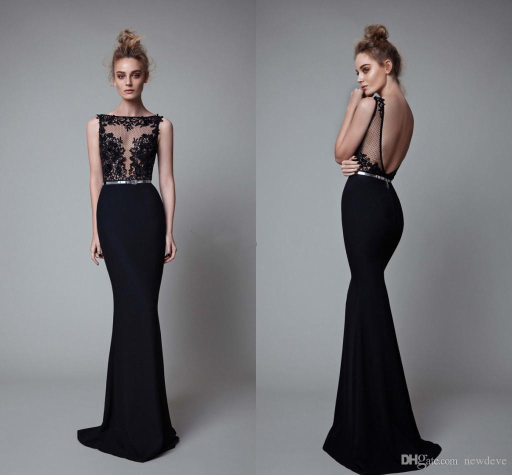 50d5a2f8a52 Berta Black Mermaid Prom Dresses Bateau Neck Illusion Bodice Sleeveless  Appliques Backless Evening Gowns Sexy Formal Dress Mermaid Style Prom  Dresses Online ...