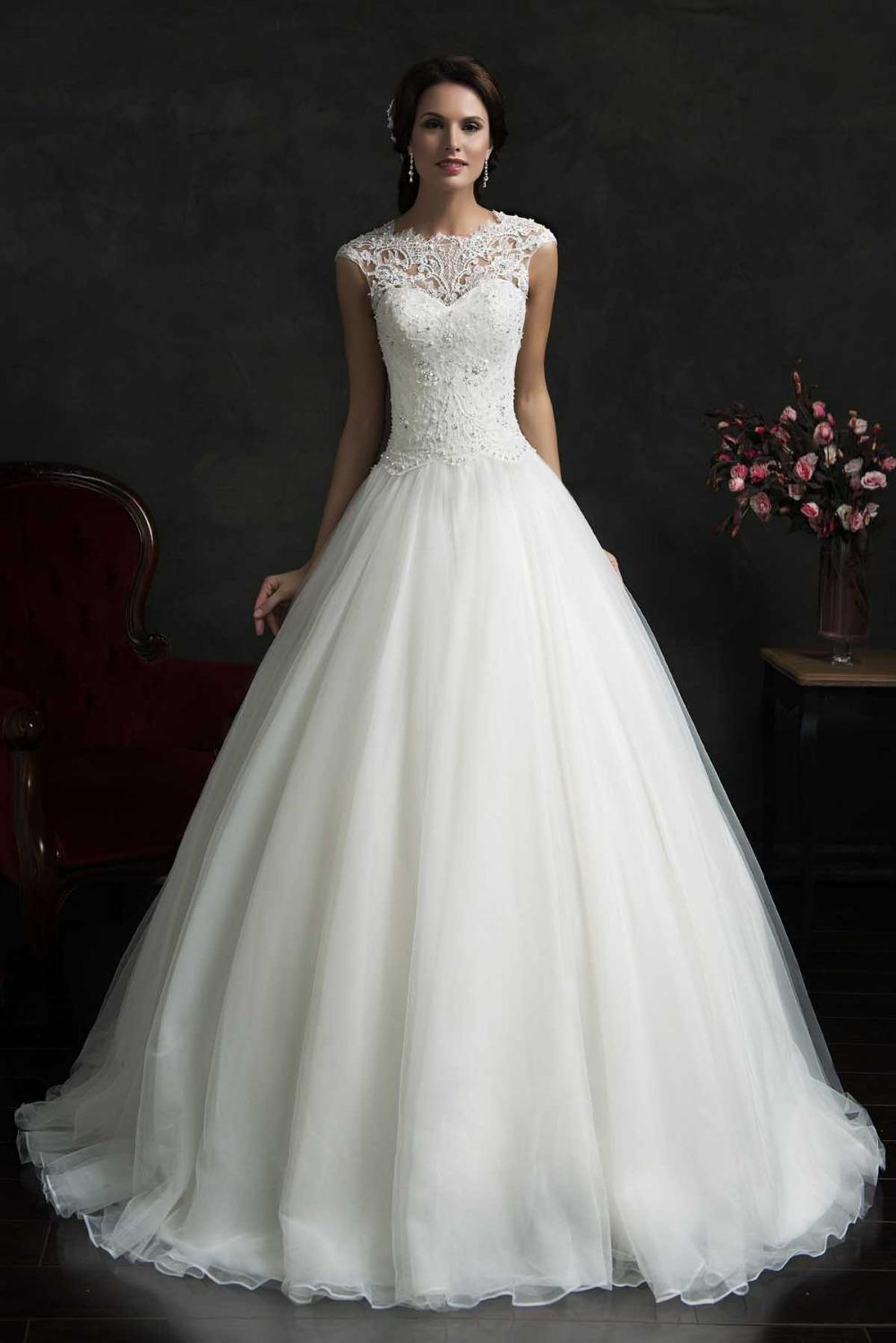 2018 HOt New Vintage High Neck Long Organza Ball Gown Wedding Dress ...
