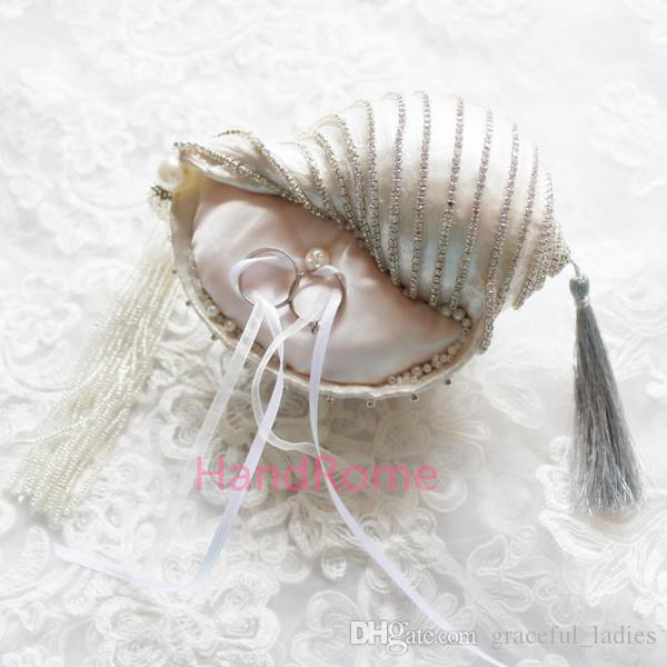 Luxury Crystal Beach Wedding Shell Ring Pillow Party Decoration Crystals Pearls Disc Tassle Jewelry Supplies Sea