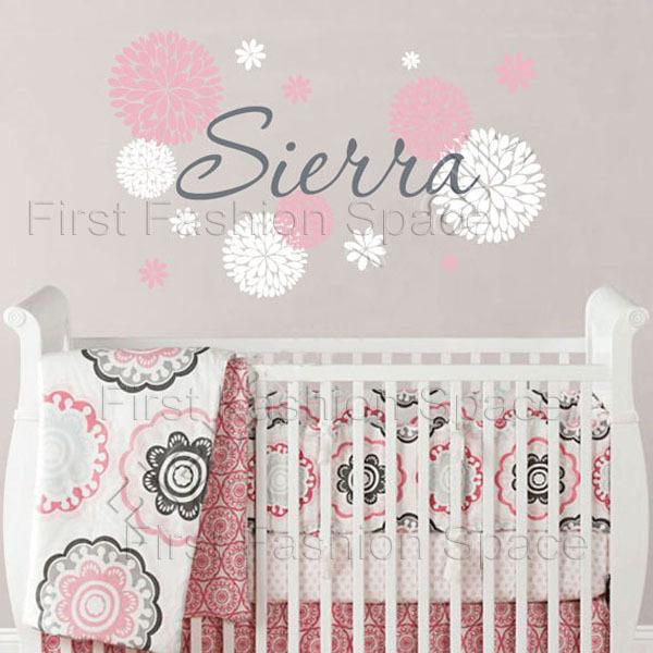 Baby Girl Name Wall Decal With Dahlia Flowers Baby Girl Nursery Or Teen Bedroom Wall Decal Personalized Vinyl Wall Decor Wall Decor For Baby Wall Decoration ...  sc 1 st  DHgate.com & Baby Girl Name Wall Decal With Dahlia Flowers Baby Girl Nursery Or ...