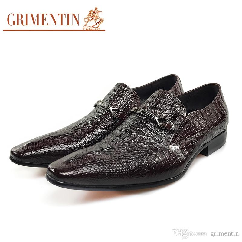 216646dd3e2 GRIMENTIN Hot sale Italian fashion formal mens dress shoes pointed toe  crocodile men loafers genuine leather new business wedding mens shoes