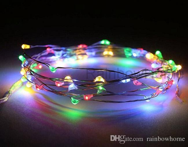 AA 배터리 전원 LED 구리 실버 와이어 요정 조명 문자열 2M 3M 5M 크리스마스 크리스마스 홈 파티 장식 씨 램프 야외 운영