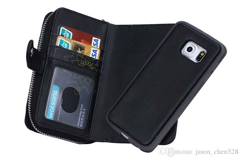 Wallet Case Flip Cove PU Leather Zipper Card Slot Pouch 2 In 1 Coin Purse Phone Bag For iPhone6 6p Samsung s6 s6edge