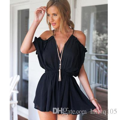 b2f577714e83 2019 Sexy New Cold Shoulder Frill Romper Women Black White Chiffon Short  Jumpsuit Slim Fit V Neck Backless Beach Cover Up Rompers MDF0269 From  Hhwq105