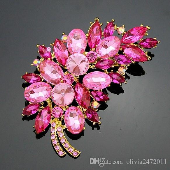 7.5 * 5 cm Tamanho Acessórios de Moda Pequena Flor roxa Clusters Folha Resina Strass Broche Pin Para O Casamento Nupcial DB