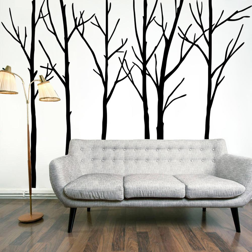 Extra large black tree branches wall art mural decor for Black tree wall mural