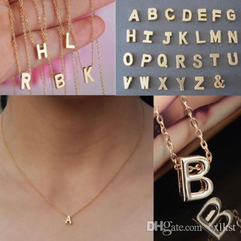 Mulheres Presente Banhado A Ouro nome Carta corrente Inicial Pingente Colares de Moda Nova Marca de Boa Qualidade Frete Grátis