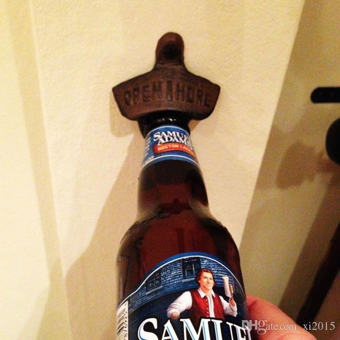 2015 Free shpipng Wall Mounted Bottle Opener Hanging Hook Beer Bottle Openers Mount Copper Cap Metal Retro