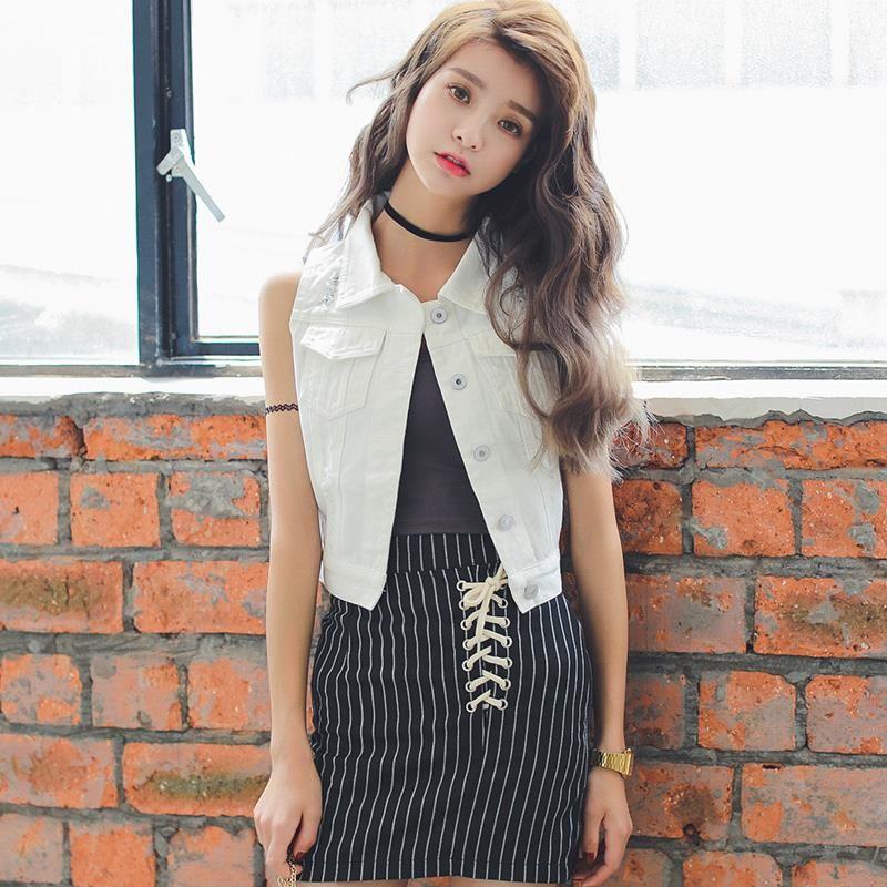 7a435a96b963cd 2019 Wholesale 2015 Korean Women Jeans Vest Cropped Denim Vest Girls Summer  Sleeveless Ripped Waistcoat White Short Jackets From Karel