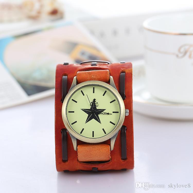 DHL Pentagram Vintage genuine leather bracelet watch punk men teens quartz wristwatch cuff bangle party festive gift Three dials Watches