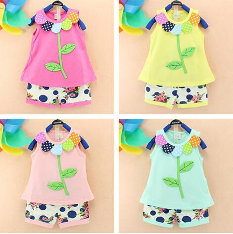 2016 baby outfits Pure cotton flower leaves vest+colorful shorts baby girls clothes set summer babies outfit Camouflage girl's fashion