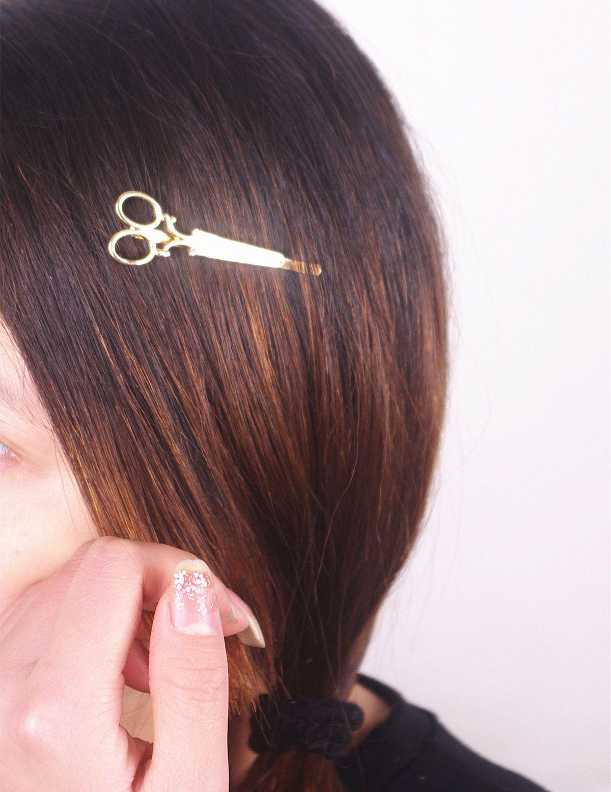 Europa Designer de Jóias Grampos de Cabelo de Ouro Tesoura de Prata Grampo de Cabelo Para O Cabelo Tiara Barrettes Mulheres Acessórios Para o Cabelo