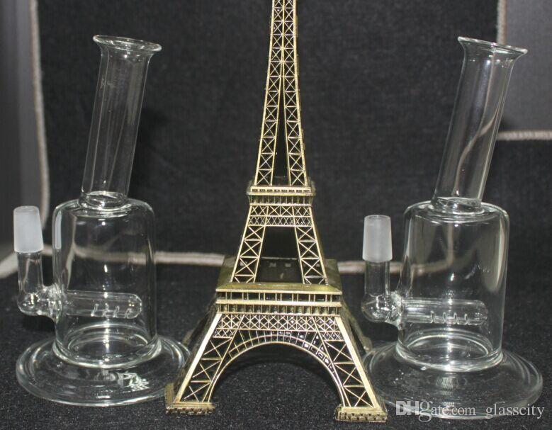 "mini 7"" inch glass bong two function Mini bubbler glass ash catcher inline percolator 14.4mm joint glass oil rig bong"