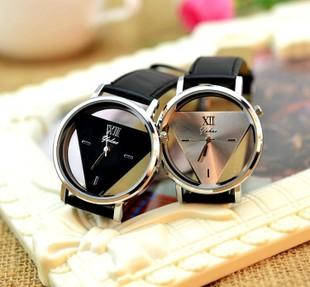 0550158fc863 Man Women Casual Watch PU Strap Hollow Glass Alloy Dial Wristwatches Quartz  Casual Style Triangle Analog Watches Christmas Gift Lover Women Watch Casual  ...