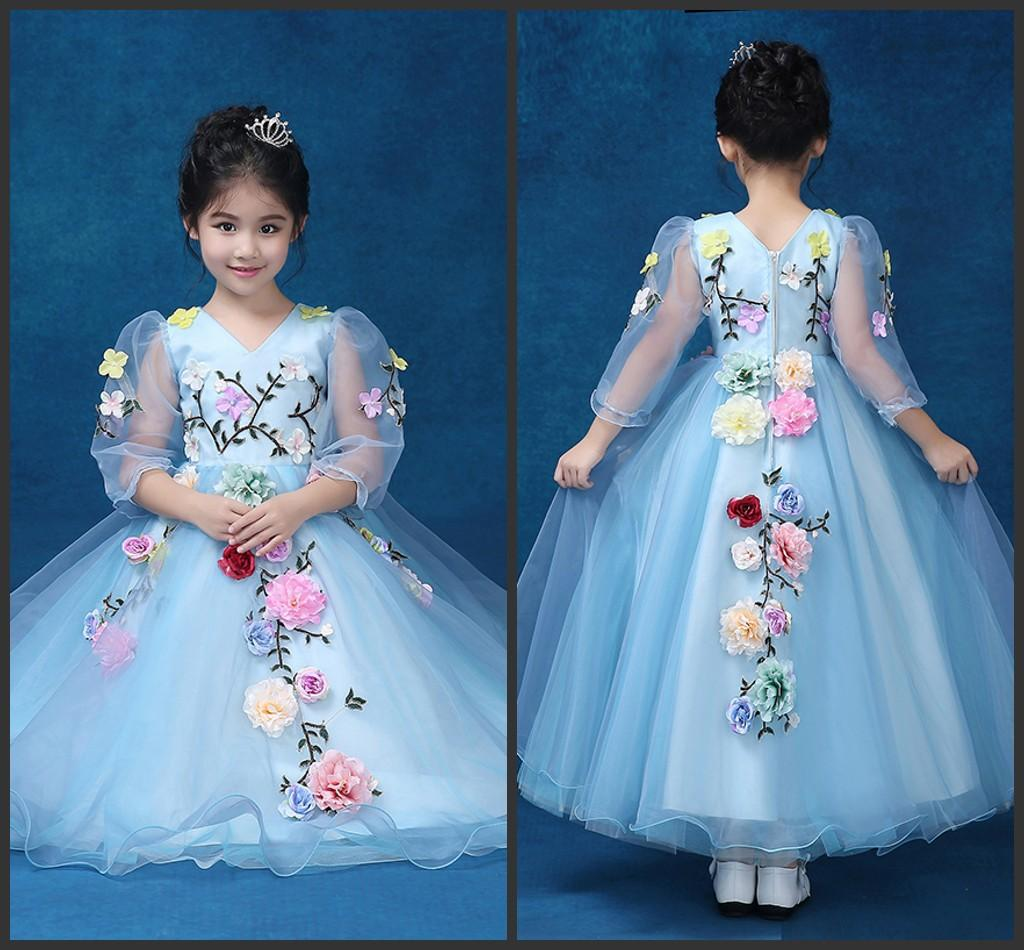 Cute Flower Girls Dresses Hand Made Flower Crew Neck Long Sleeve ...