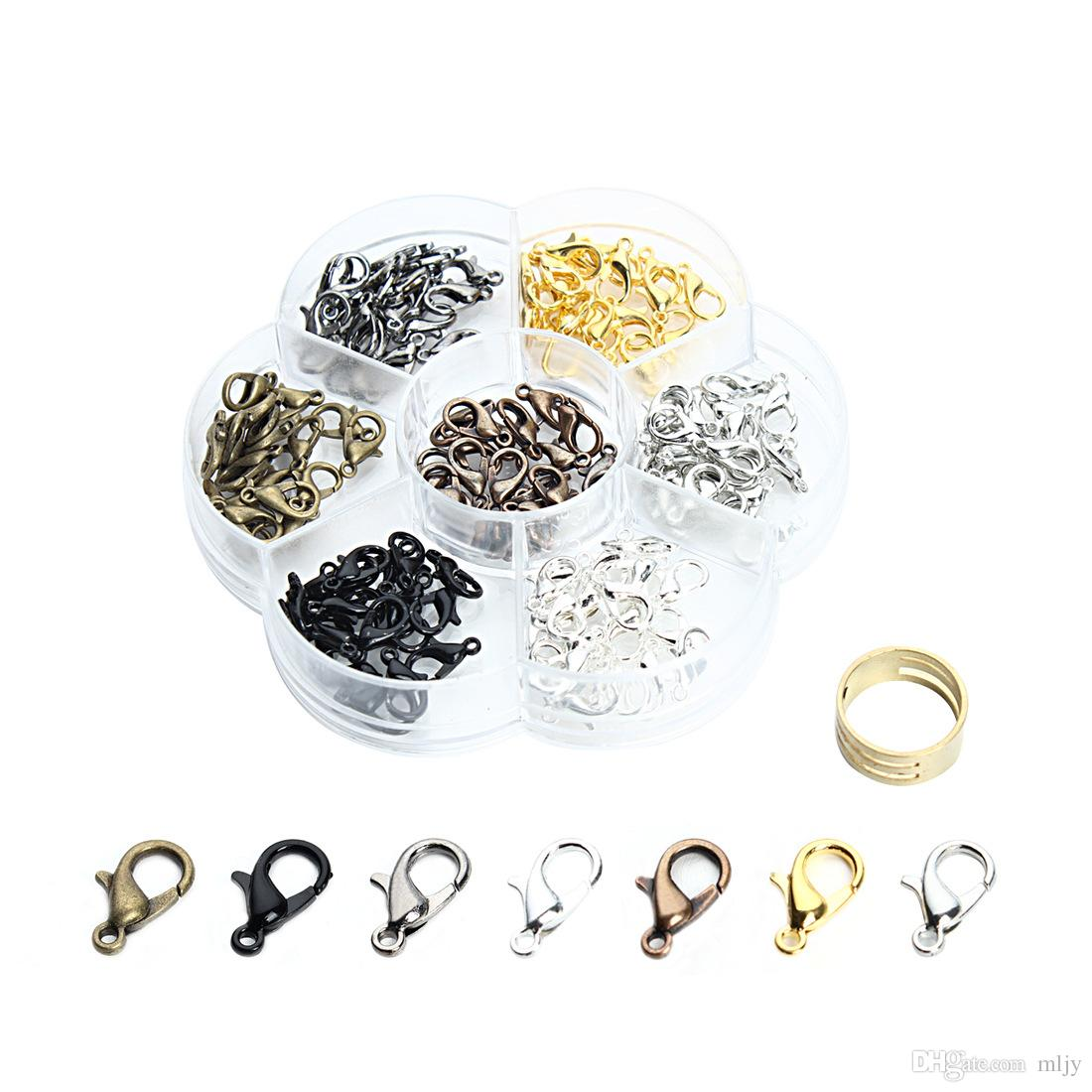 MLJY 7 Farben Legierungs-Hummer-Haken für Halskette 12mm Halsketten-Zusätze DIY Haken-Haken mit den offenen Werkzeug-Ring-Schmucksachen, die Großverkauf machen