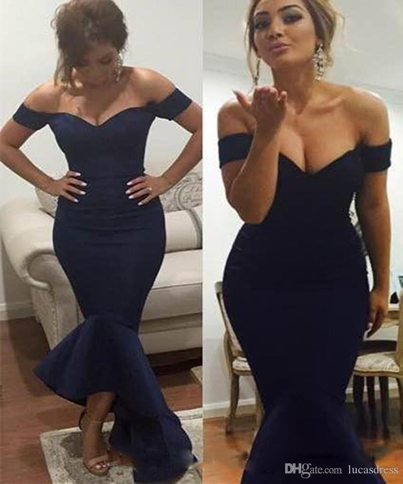 Custom Made Sexy Off-The-Shoulder Women Mermaid Sleeveless Tea Length Cocktail Party Wear Dress Satin Evening Dress