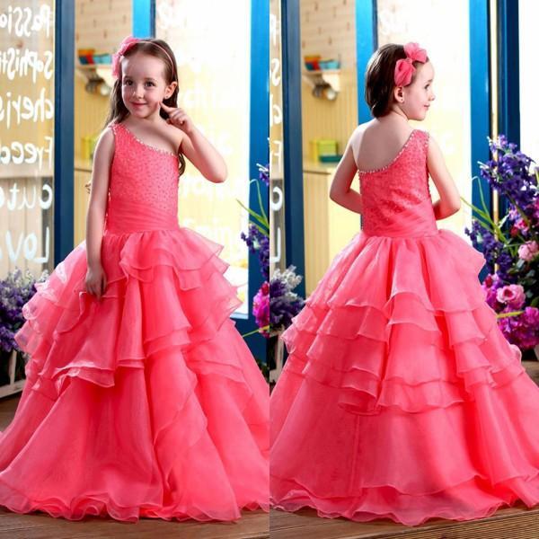 Горячие продажа девушки Pageant платья 2016 одно плечо оборками бисероплетение органза цветок Grls платье на заказ