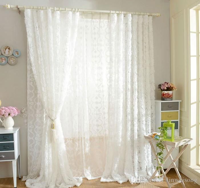 Princess Styles Solid White Rose Window Curtains Lace Elegant Living Room