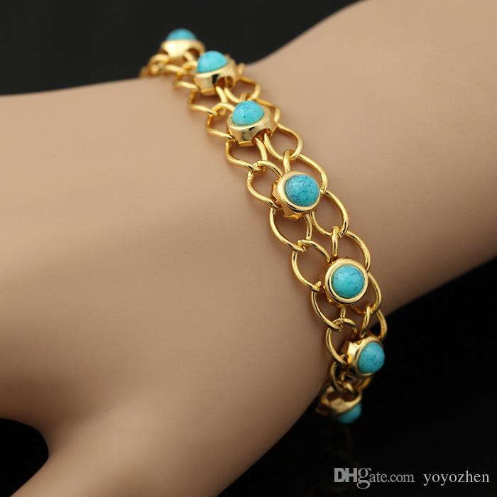 Neue Mode Türkis Armbänder Armreifen Für Frauen 18 Karat Echt vergoldet Schmuck Schmuck Armreifen Türkei Stein Modeschmuck YH5139