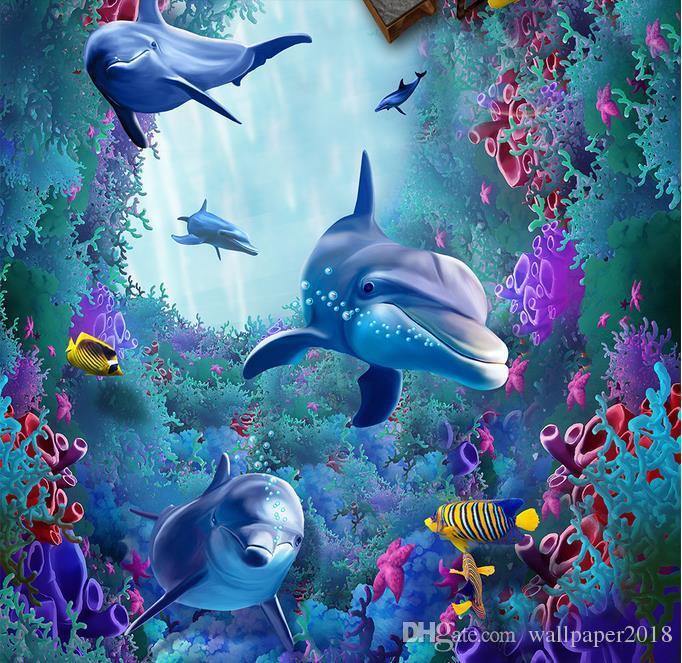 Waterproof PVC Wallpaper Sea World Dolphins 3d Floor