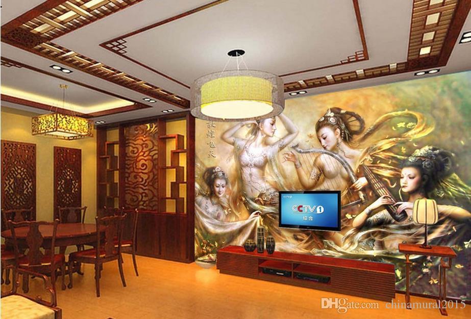 Papeles de pared decoración para el hogar para niños HD Dunhuang color talla moderna sala de estar fondos de pantalla