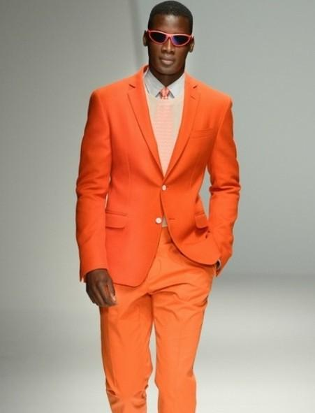 Orange Groom Tuxedos Notched Lapel Wedding Suits For Men Two ...