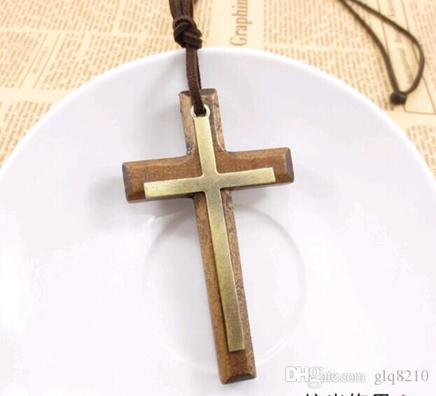 Double wooden cross pendant necklace vintage alloy leather cord sweater chain men women jewelry lovers stylish