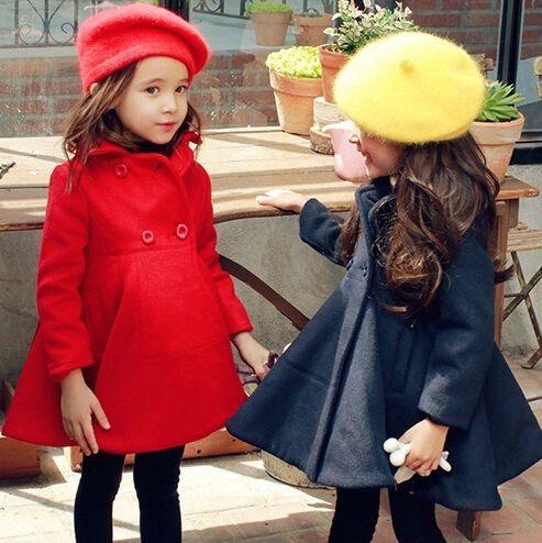 Fashion Girls Wool Dress Coat Children Girls Coat Baby Trench ...