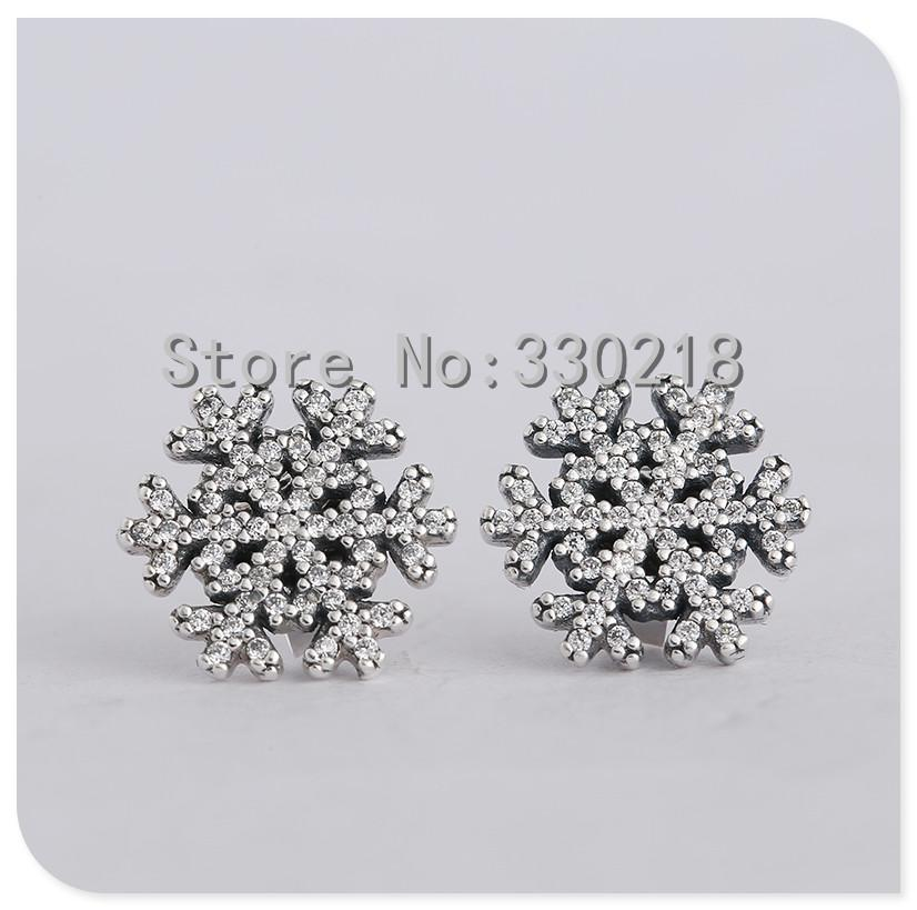 pandora snowflake earrings 2019 compatible with pandora jewelry snowflake silver stud 2164