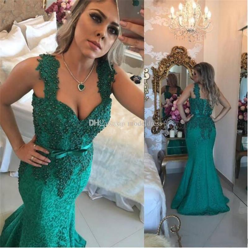 Dark Green Arabic Lace Dresses Evening Wear 2018 Spaghetti Appliques Pearls Mermaid Sweep Train Formal Prom Party Special Occasion Gowns