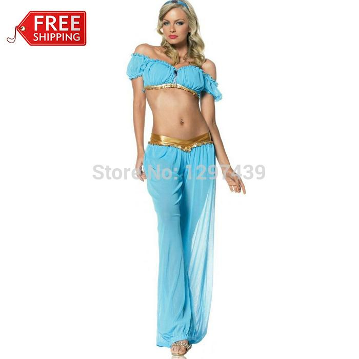 wholesale halloween costumes for women princess jasmine sexy costumes for women adult aladdins princess jasmine cosplay party funny halloween costume group - Halloween Jasmine