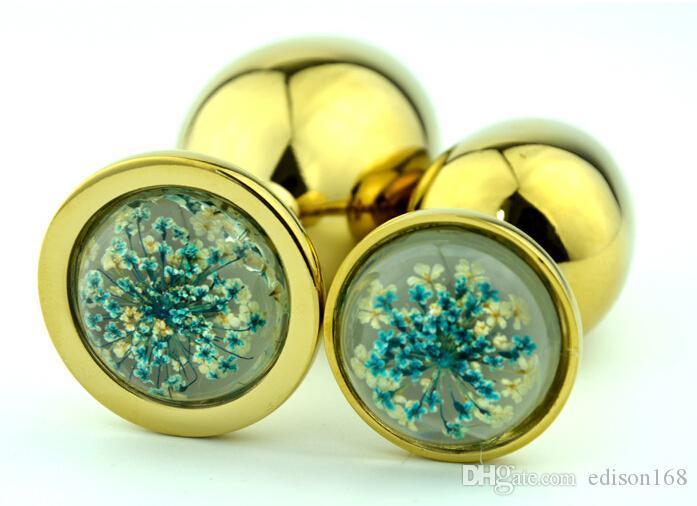 2 Размер новые унисекс привлекательный Хризантема Кристалл ювелирные изделия золото металл анальный плагин попки Booty бисер секс игрушки продукт красный синий Кристалл
